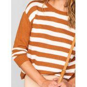 Suéter de tricot listrado com mangas longas e gola careca