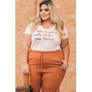 T-Shirt plus size bordada life happens