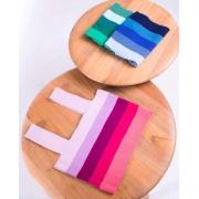 Top tricot listrado decote quadrado