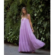 Vestido crepe amplo alça amarração