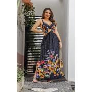 Vestido longo barra floral
