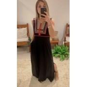 Vestido longo bordado detalhe guiipir