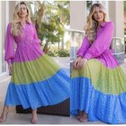 Vestido Midi foil tricolor