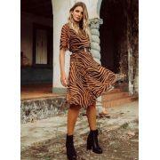 Vestido Midi zebra com forro e cinto