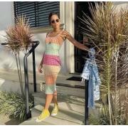 Vestido modal pied de poule colorido