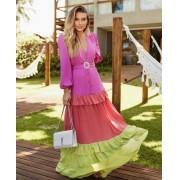Vestido Tricolor Malibu com cinto