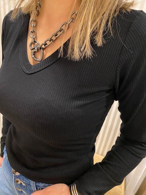 Blusa canelada basic gola V