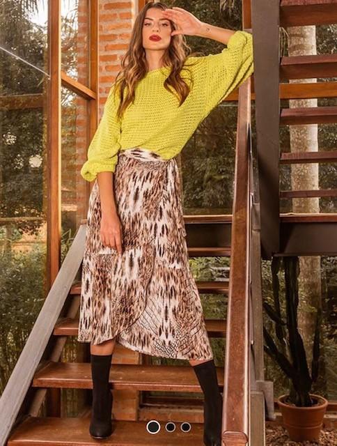 Blusa tricot manga ampla