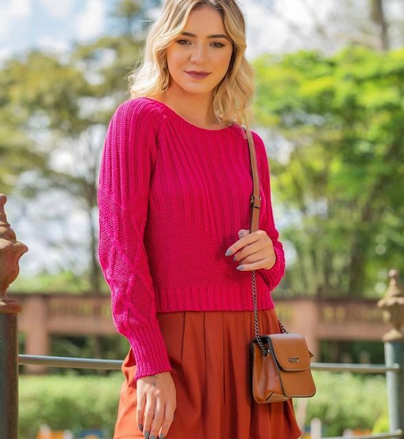 Blusa tricot ponto largo
