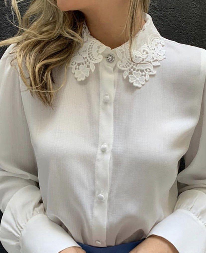 Camisa crepe gola renda