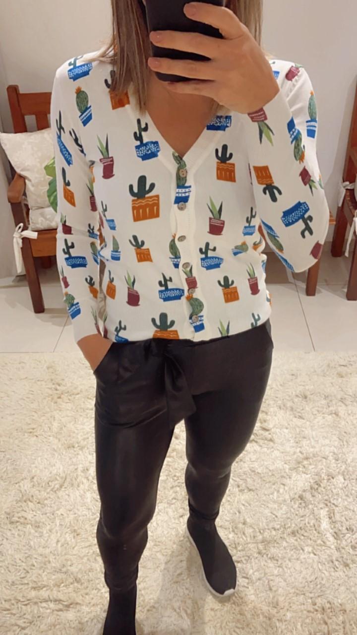 Cardigan tricô curto cacto
