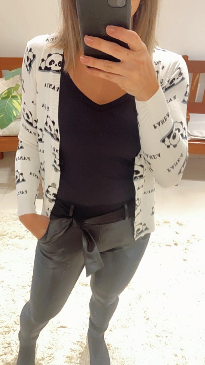 Cardigan tricô curto panda