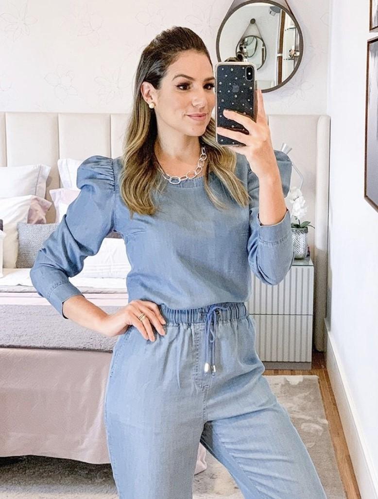 Conjunto jeans tencel manga princesa