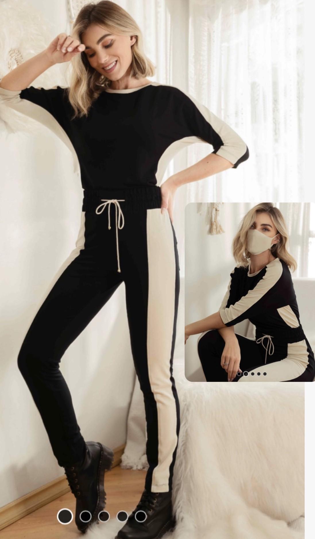 Conjunto moletinho bicolor com manga 3/4 máscara tricomix