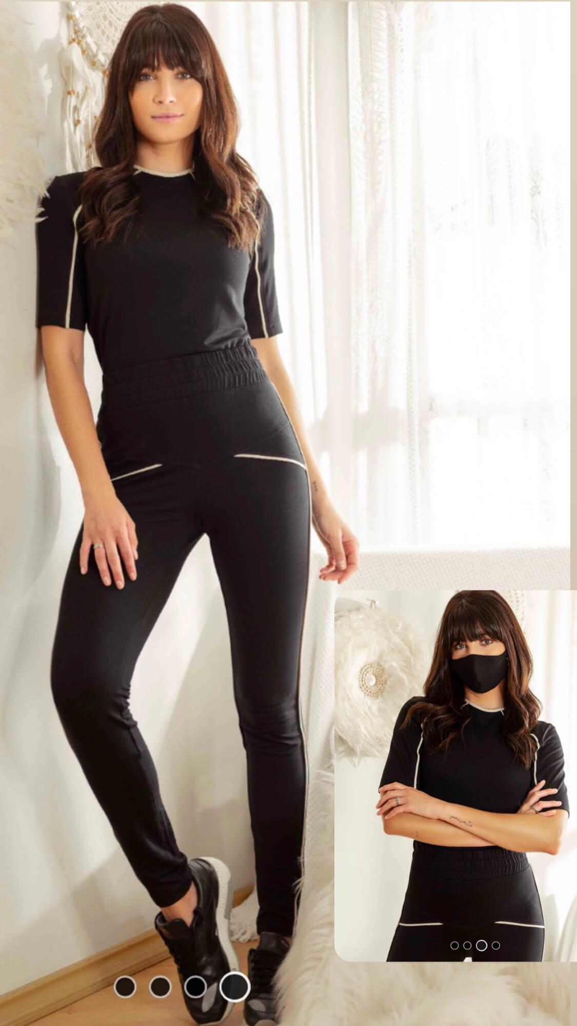 Conjunto moletinho bicolor com máscara tricomix