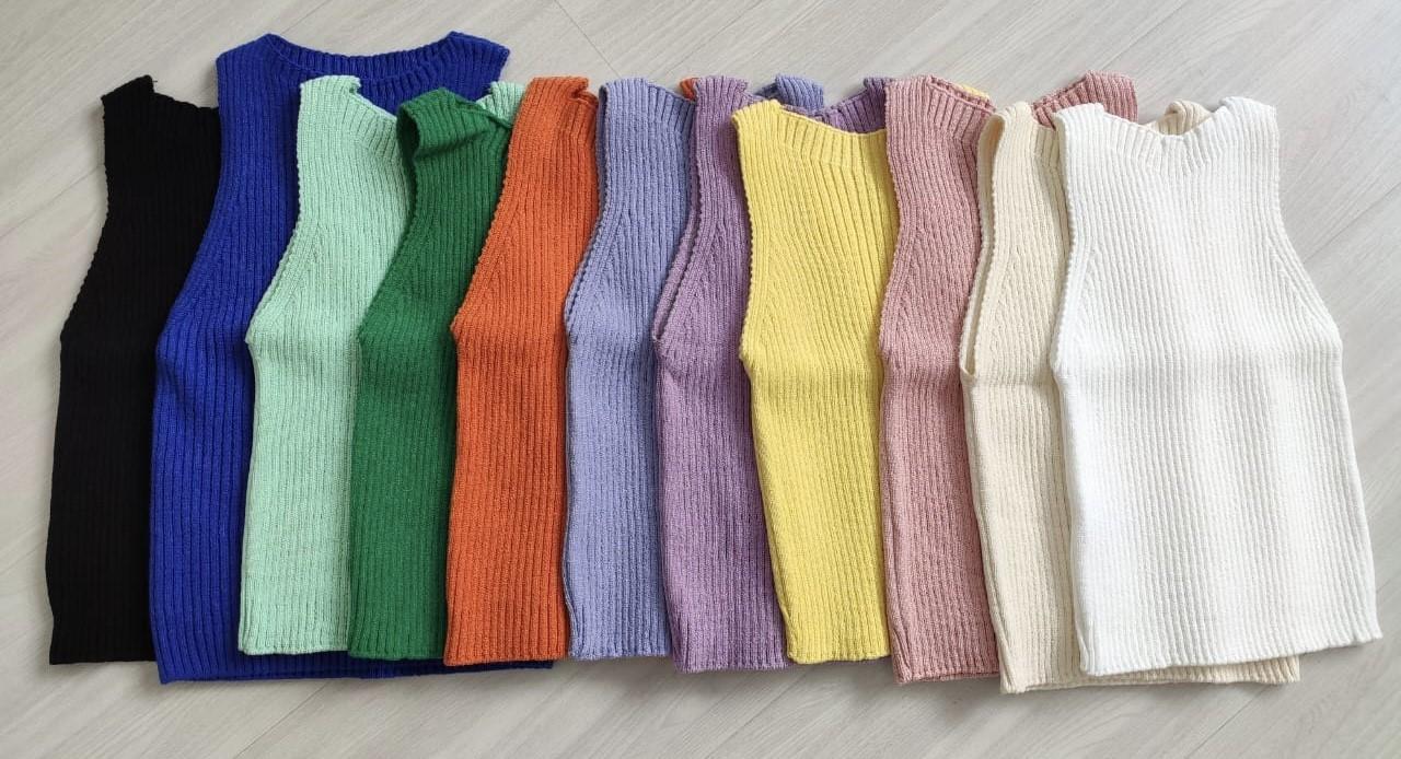Cropped básico tricot canelado