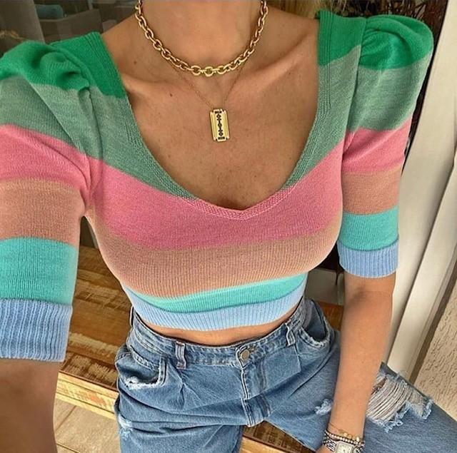 Cropped de tricot Color manga princesa- tamanho único