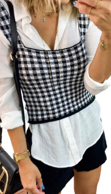 Cropped tricot xadrez