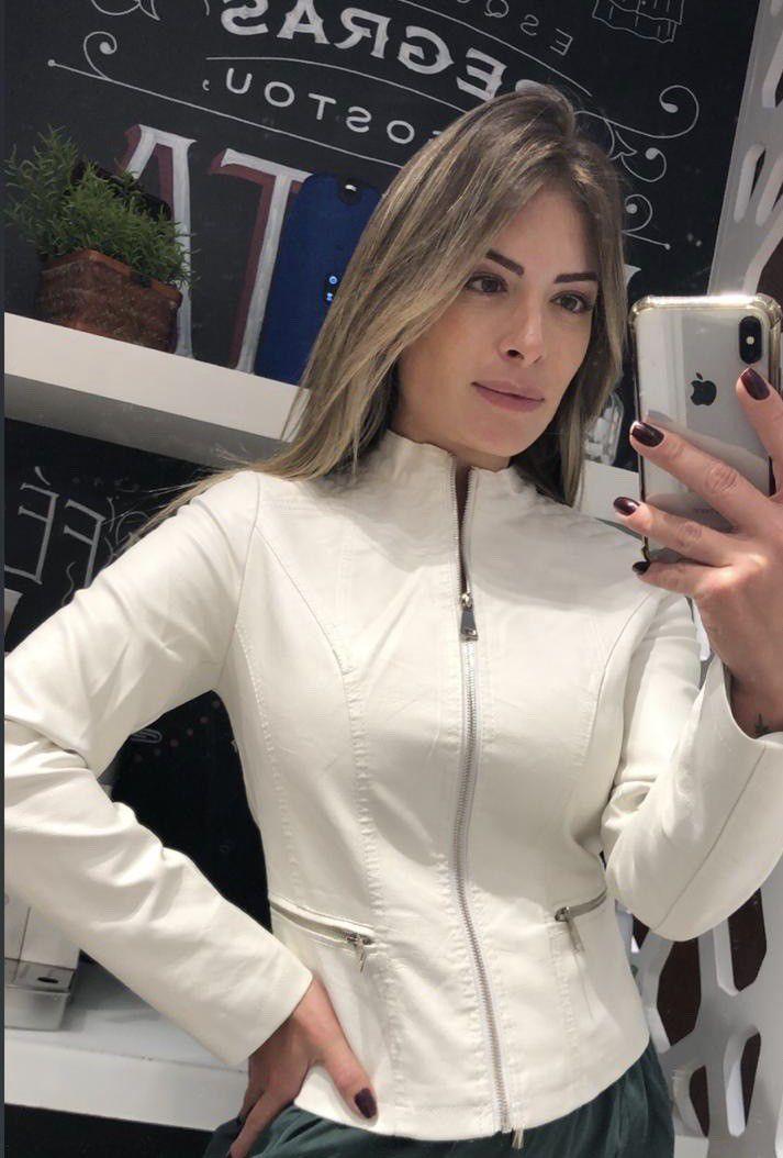 Jaqueta couro fake lisa