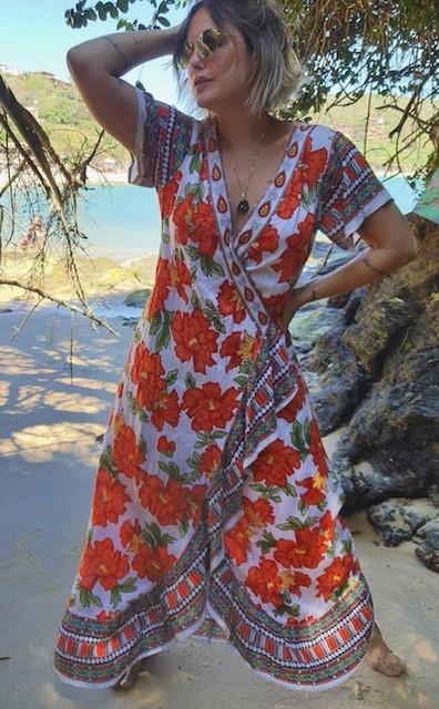 Kimono longo estampado manga curta