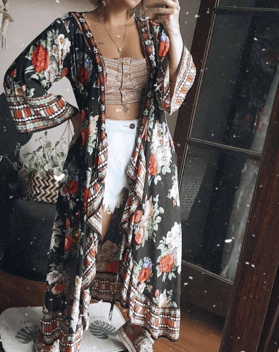 Kimono longo manga longa