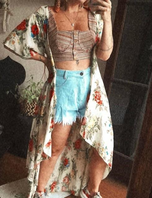 kimono midi estampado manga curta