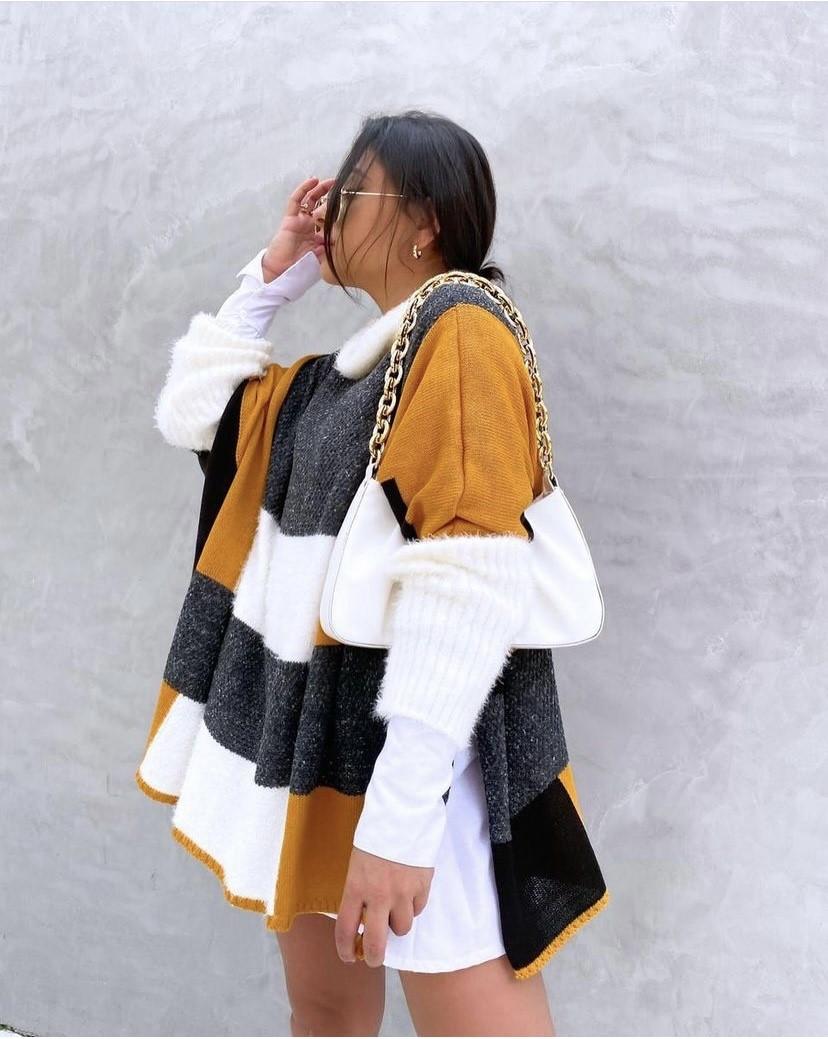 Poncho tricot 3 cores