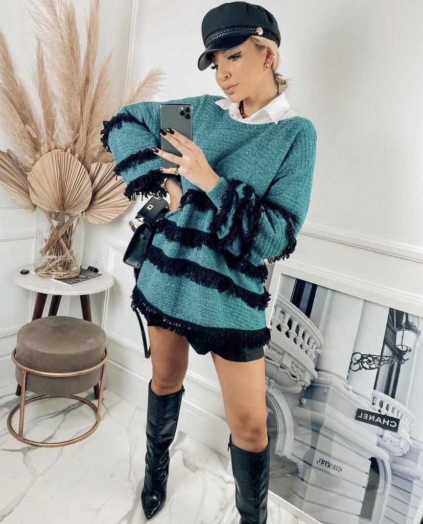 Poncho tricot franja