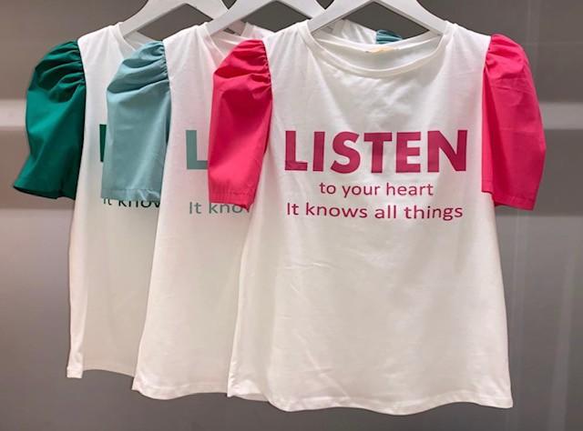 """T-Shirt manga bufante """"Listen to your heart"""""""