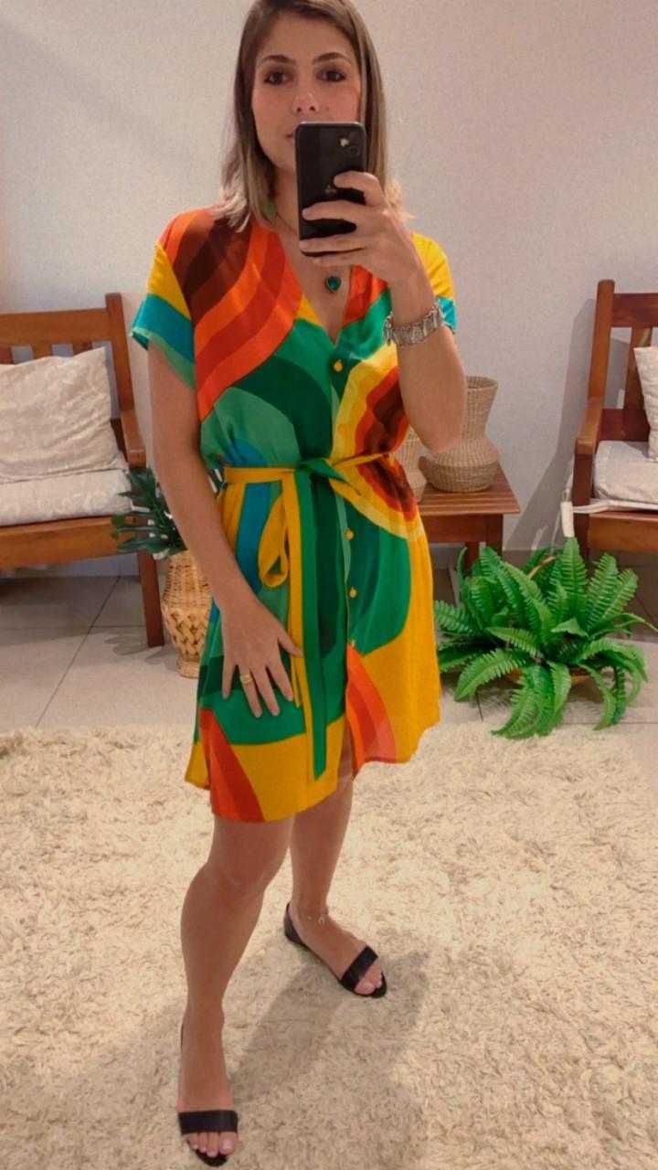 Vestido chemise colorido