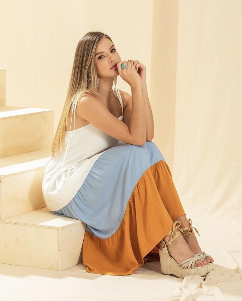 Vestido alça fina color barra