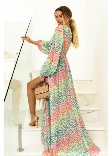 Vestido Crepe onça Color