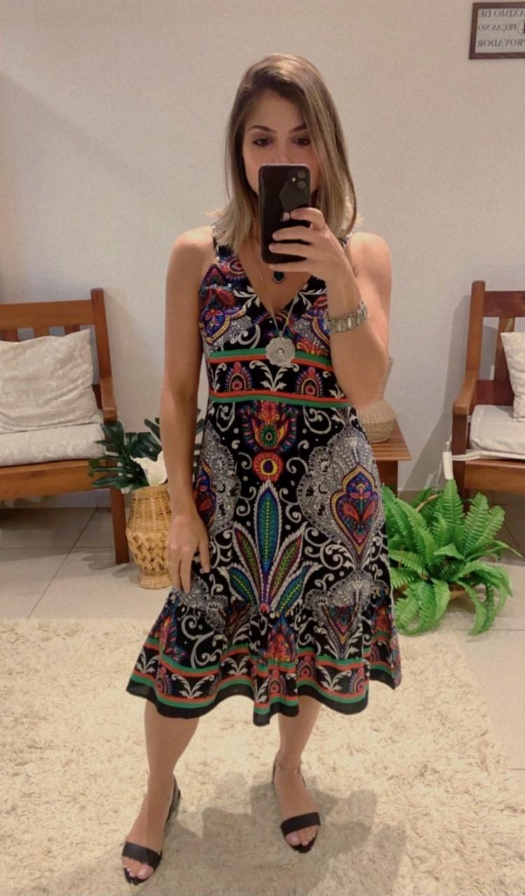 Vestido curto estampa