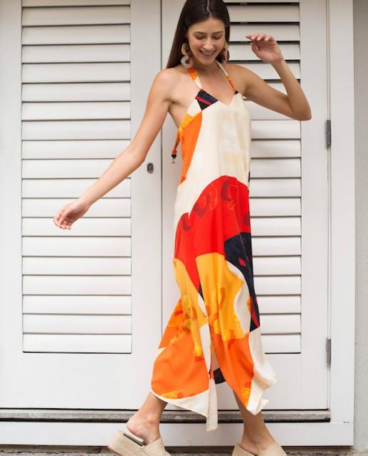 Vestido fresh amplo estampado