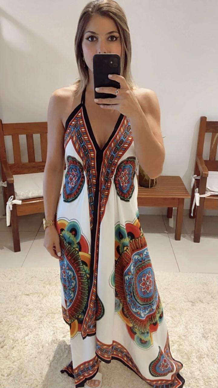 Vestido lenço ponta colorido