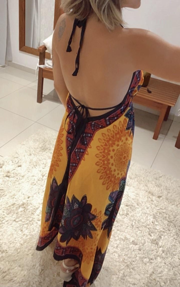 Vestido lenço ponta mandala colorida