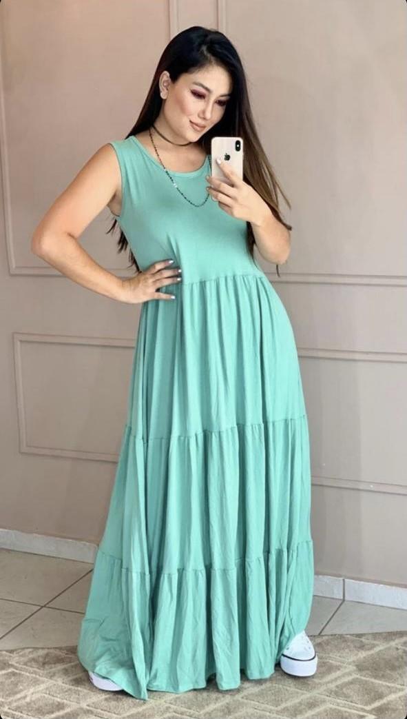 Vestido longo camadas