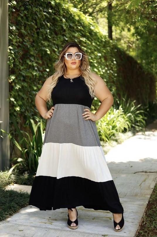 Vestido longo de malha tricolor