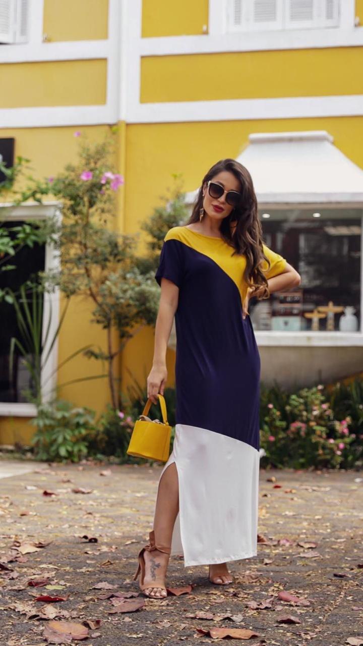 Vestido longo tricolor - tamanho único- plus