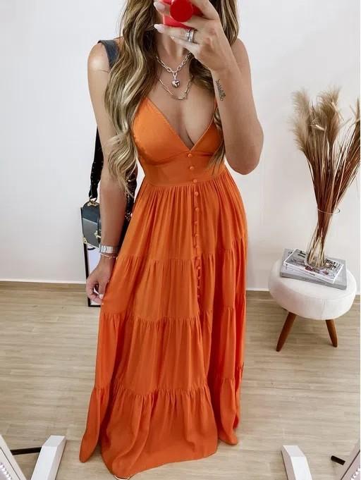 Vestido longo viscose Leslie