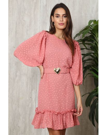 Vestido Silk Devore com cinto coração