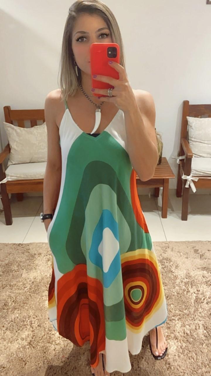 Vestido trapézio colorido