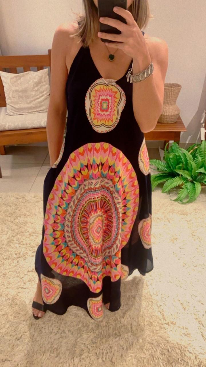 Vestido trapézio mandala