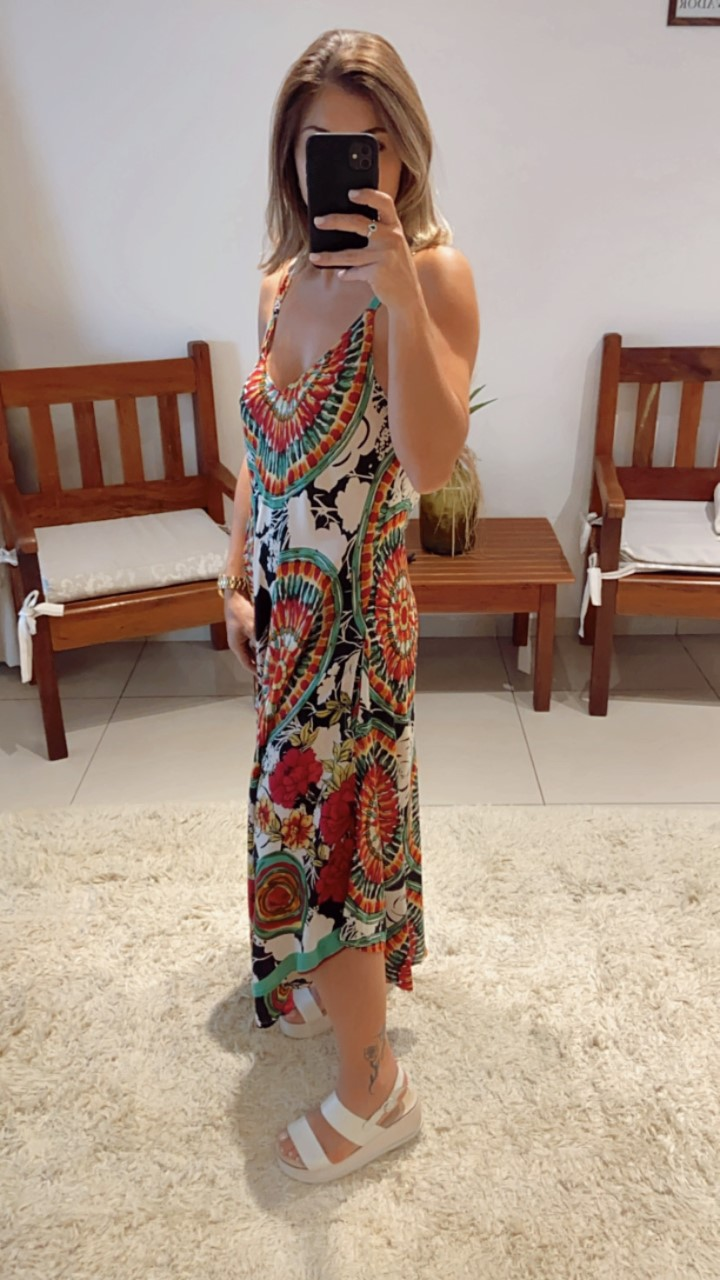 Vestido trapézio mandala colorido