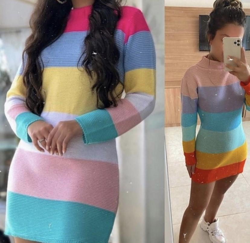 Vestido tricot colorido