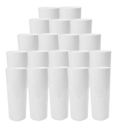 50 Copo Long Drink 350ml Branco Leitoso Festa Liso Silk Tran