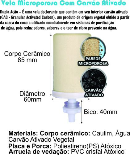 Kit 6 Vela Carvão Ativado + 6 Boia Dosadora Água Alcalina