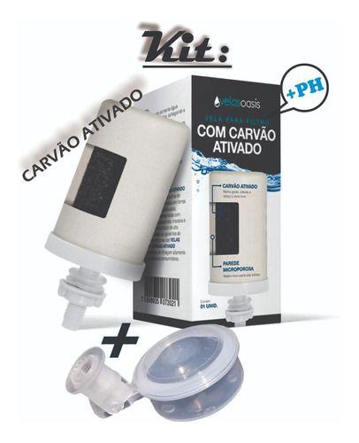 Kit 3 Vela Carvão Ativado Alcalina + 3 Boia Dosadora Filtro