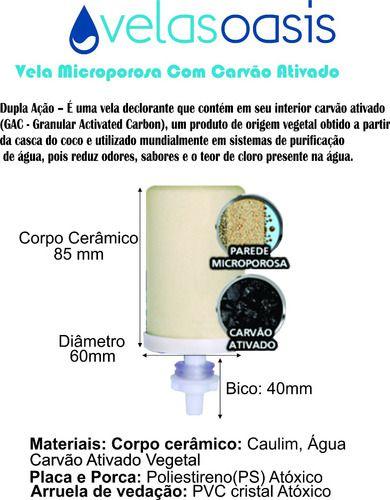 Kit 20 Vela Carvão Ativado + 20 Boia Dosadora Filtro De Água