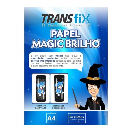 PAPEL TRANSFER LASER TRANSFIX MAGIC BRILHO 90G/M² - A4 (210X297MM) - PACOTE C/ 50 FOLHAS